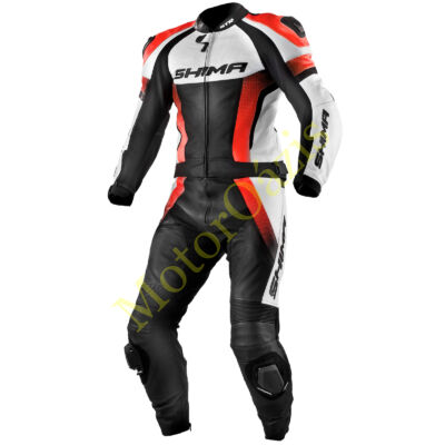 Motoros bőrruha, SHIMA STR, Red Fluo